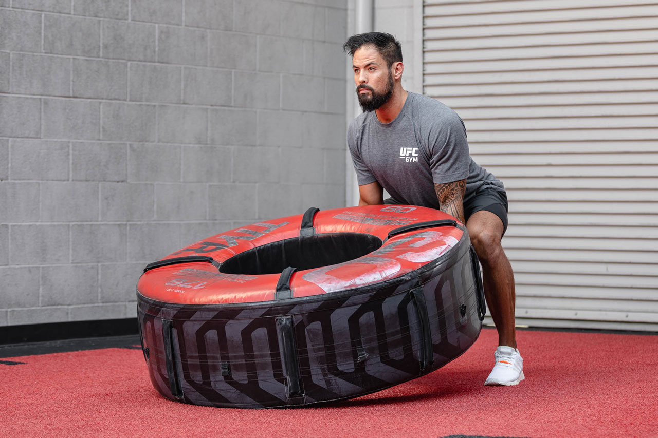 A member lifting a tire