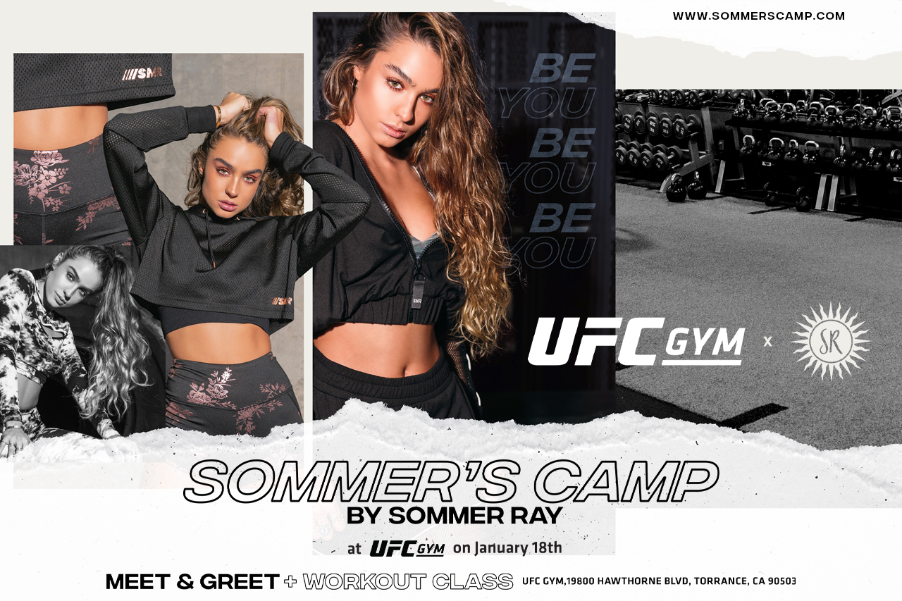 Sommer Ray posing for UFC GYM Fitness Experience event