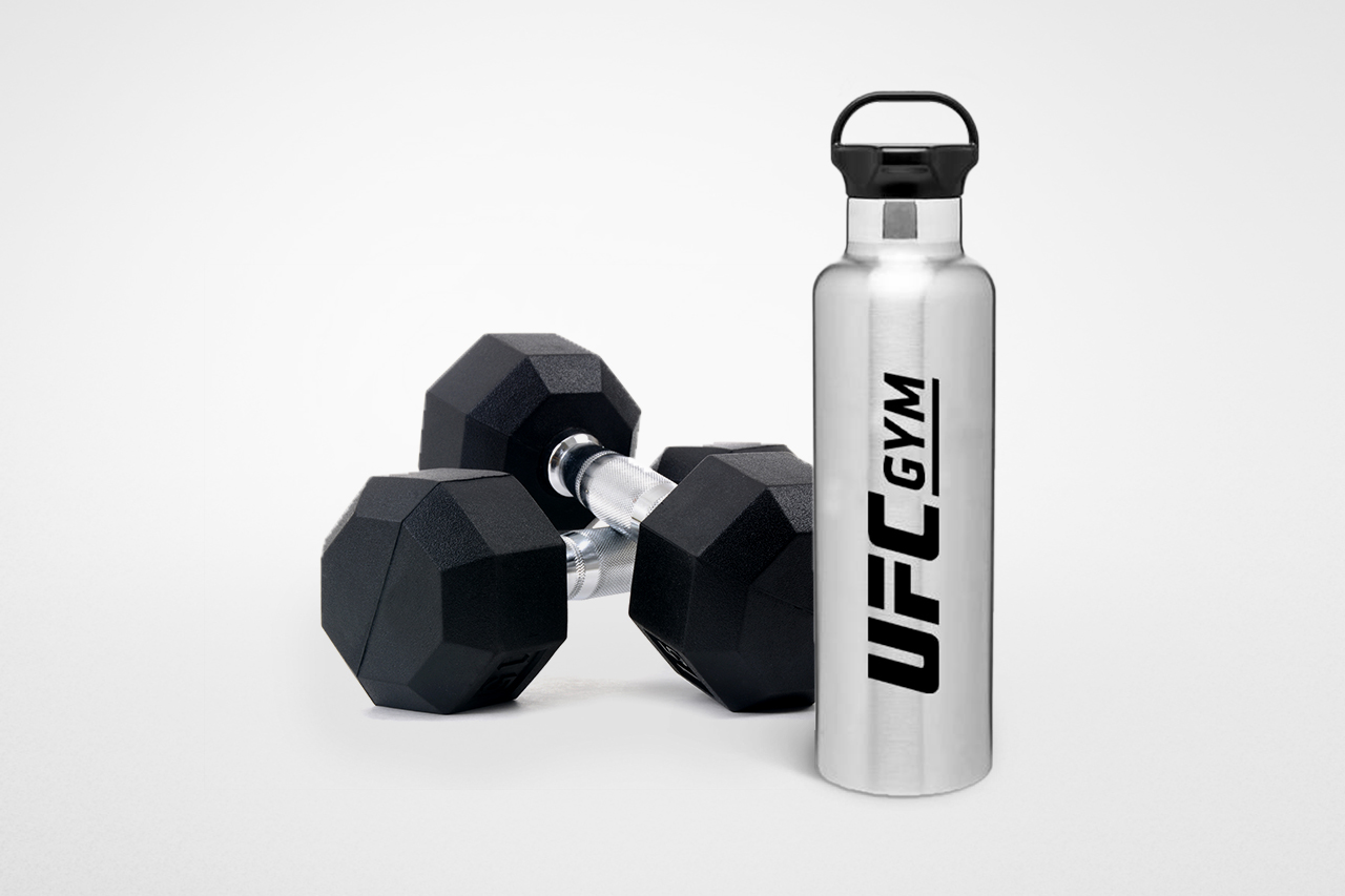 Pair of dumbbells and a water bottle